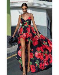 Дълга  рокля с цепка с  десен на цветя  в черно - код 0070