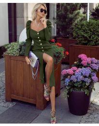 Елегантна рокля в маслено зелено - код 4418