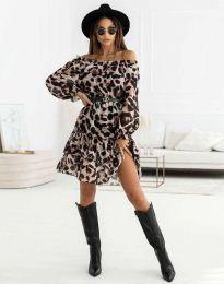 Дамска рокля с ефектен десен с колан - код 5179 - 3