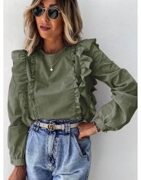 Дамска блуза в  маслено зелено - код 6615