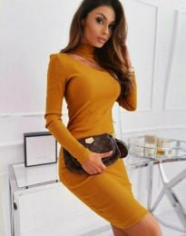 Изчистена дамска рокля в цвят горчица - код 11441
