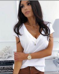 Изчистена дамска блуза с къс ръкав в бяло - код 885