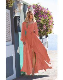Дълга рокля с цепка в цвят корал - код 8477