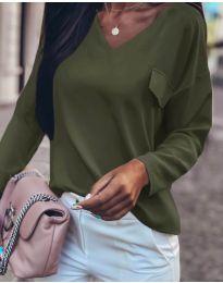 Дамска блуза в маслено зелено - код 894