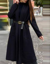 Дамско дълго палто в черно - код 1566