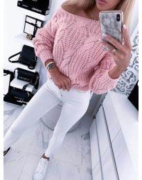 Плетена свободна дамска блуза в розово - код 488