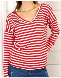 Дамска блуза на райе в червено и бяло - код 3319