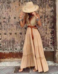 Атрактивна дълга рокля в бежово - код 0817