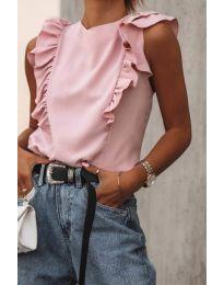 Дамски топ с къдрички в розово - код 444