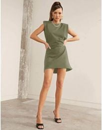 Свободна къса дамска рокля в маслено зелено - код 625