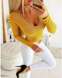 Дамска блуза в цвят горчица с камъни - код 3533