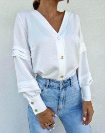 Стилна дамска риза в бяло - код 7492
