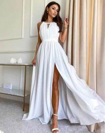 Дълга ефирна рокля в бяло - код 6787