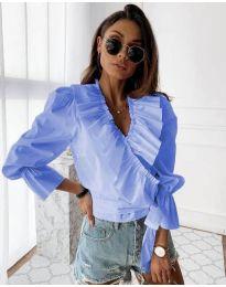 Изчистена дамска риза в светло синьо - код 1167