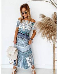 Дълга рокля с атрактивен десен в синьо - код 5061