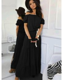 Дълга дамска рокля в черен цвят - код 495