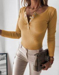 Дамска блуза с копчета цвят горчица - код 1553