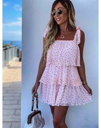 Свободна къса дамска рокля в розово - код 6140