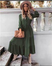 Дълга рокля в маслено зелено - код 5150