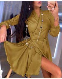 Елегантна рокля в цвят горчица - код 2428