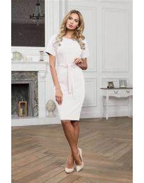Изчистена рокля в  бяло - код 3698