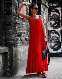 Свободна дълга рокля в червено - код 2301