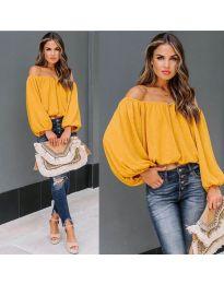 Дамска блуза с лодка деколте в цвят горчица - код 6674