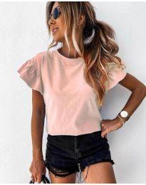 Изчистена дамска тениска в розово - код 520