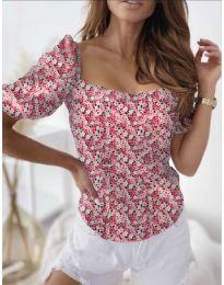 Блуза с флорален десен в розово - код 9897