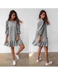 Свободна дамска рокля в сиво - код 784