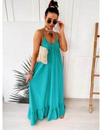 Дълга ефирна рокля в цвят тюркоаз - код 2218