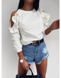 Дамска блуза с ефектни ръкави в бяло - код 3434