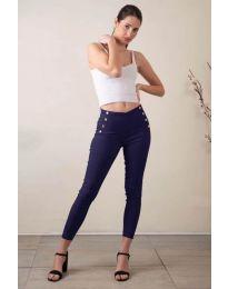 Стилен дамски панталон в тъмно синьо - код 733