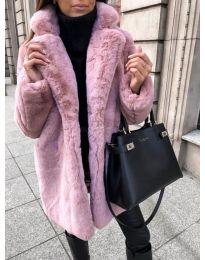 Дълго дамско палто в цвят пудра - код 187