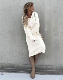 Изчистена дамска рокля в бяло - код 6449