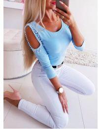 Блуза - код 3272 - синьо