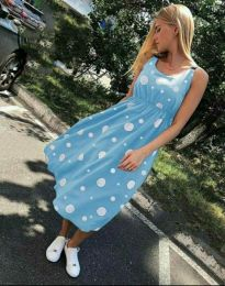 Атрактивна лятна рокля в светлосиньо - код 8122