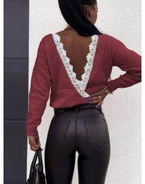 Дамска блуза с  ефектен гръб в бордо - код 6050