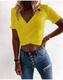Дамска тениска в жълто - код 1102