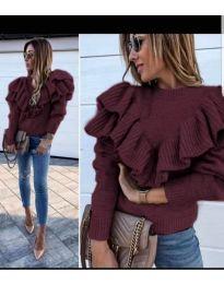 Блуза с ефектна предна част в цвят бордо - код 699