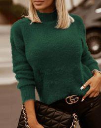 Пухкава дамска блуза с поло яка в тъмнозелено - код 4798