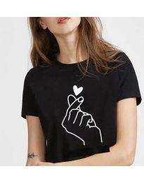 Дамска черна тениска с принт - код 816