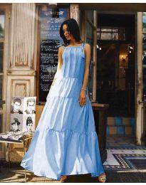 Ефирна дълга рокля в цвят светло синьо - код 1105