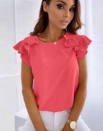 Блуза с къс ръкав с ефектни ръкави в цвят циклама - код 3299