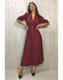 Дамска дълга плисирана рокля в цвят бордо - код 014