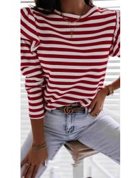 Блуза с червено райе - код 5581
