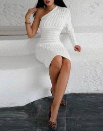 Дамска рокля в бяло с един ръкав - код 2588