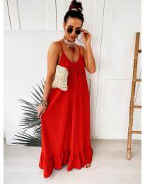 Дълга ефирна рокля в цвят червено - код 2218