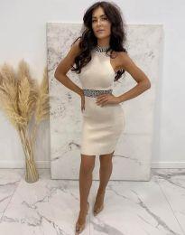 Елегантна рокля по тялото в цвят шампанско - код 2593