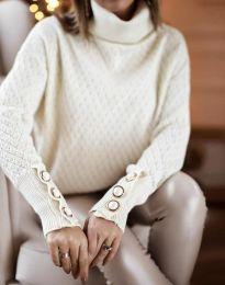 Стилна дамска блуза с поло яка в бяло - код 3724